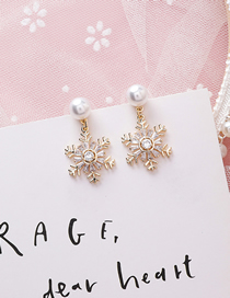 Fashion Pearl Snowflake 925 Silver Needle Full Diamond Snowflake Pearl Earrings
