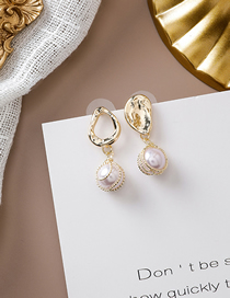 Fashion Gold 925 Silver Needle Pearl Asymmetric Earrings