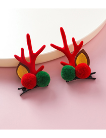 Fashion Red (hairball) Christmas Antler Hairpin
