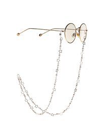 Silver Copper Pearl Star Glasses Chain