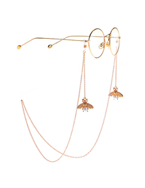 Gold Non-slip Metal Pearl Bee Glasses Chain