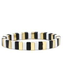Black + White + Gold Long Strip Alloy Paint Color Retaining Bracelet