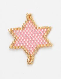 Pink Rice Beads Woven Hexagonal Star Accessories