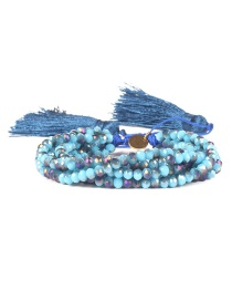 Blue Beizhu Weaving Love Crystal Tassel Bracelet