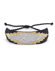 Black Rice Beads Woven Eye Bracelet