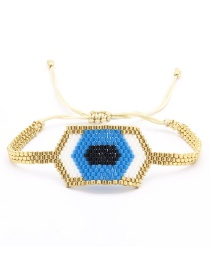 Blue Eye Beaded Woven Bracelet