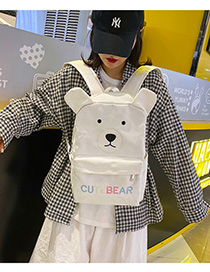 White Bear Cartoon Embroidery Contrast Canvas Backpack