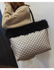 Champagne With Black Plush Stitching Rhombic Shoulder Bag