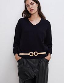 Fashion Gold Alloy Geometry Belt
