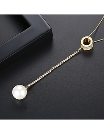 Fashion 18k Gold Pearl Copper Inlay Zircon Necklace