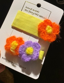Yellow/pair Wool Flower Children's Hair Clip  Alloy