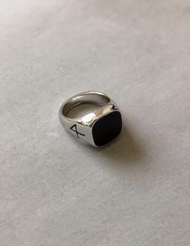Fashion Black Gem Geometric Ring
