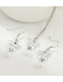 Fashion White K Butterfly Necklace Pearl Earring Set