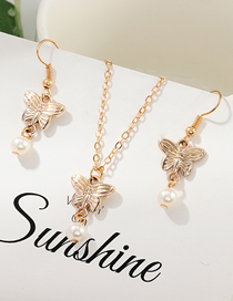 Fashion Gold Butterfly Necklace Pearl Earring Set