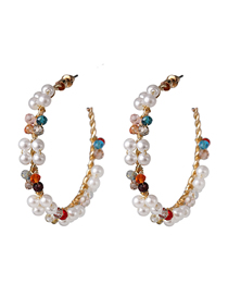 Fashion Color C-shaped Pearl Earrings
