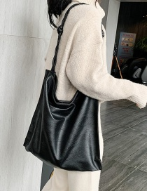 Fashion Black Knotted Twist Shoulder Strap Shoulder Bag