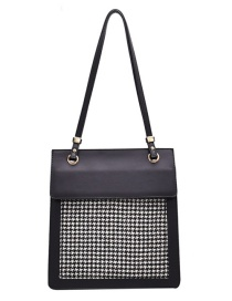 Fashion Black Cell Plaid Contrast Color Shoulder Bag