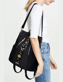 Fashion Black Ribbon Printed Zipper Shoulder Bag