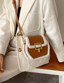 Fashion Pu Brown Contrast Plush Stitching Shoulder Messenger Bag