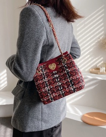 Fashion Red Wine Woo Lock Chain Single Back Messenger Bag