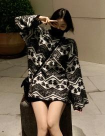 Fashion Black Lazy Wind High Collar Thick Sweater
