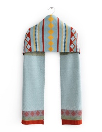 Fashion Hole Blue Jacquard Knit Scarf