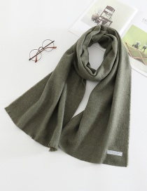 Fashion Armygreen Letter Clip Flower Monochrome Imitation Cashmere Loose Scarf
