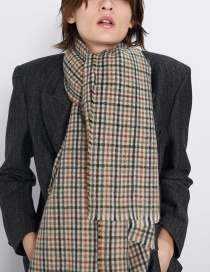 Fashion Khaki Small Plaid Imitation Cashmere Scarf Shawl