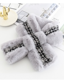 Fashion Gray Splicing Imitation Rabbit Fur Collar
