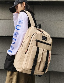 Fashion Beige Labeled Letter Print Backpack With Web Buckle