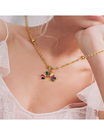 Fashion Golden Crystal Rainbow Necklace With Colored Diamonds