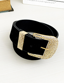 Fashion Black Alloy Diamond Geometric Belt