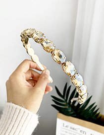 Fashion Champagne Alloy Oval Drill Headband