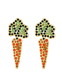 Fashion Golden Carrot Stud Earrings With Diamonds