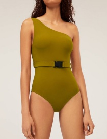 Fashion Yellow-green One Shoulder Low Chest Belt Waist Triangle One Piece Swimsuit