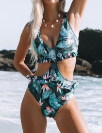Fashion Leaf Pink Water Lily On Black Printed Backless One Piece Swimsuit