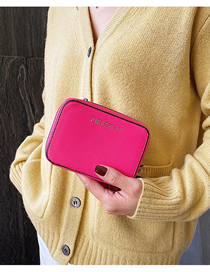 Fashion Rose Pink Letter Embroidered Multi-layer Short Wallet