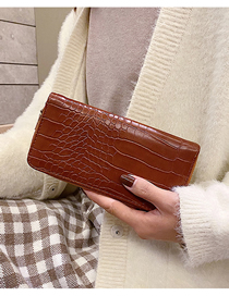 Fashion Brown Stone Pattern Long 2 Fold Wallet