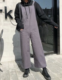 Fashion Gray Pocket Sling Jumpsuit