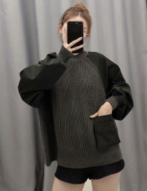 Fashion Dark Gray Knitted Sweater With Patch Pockets