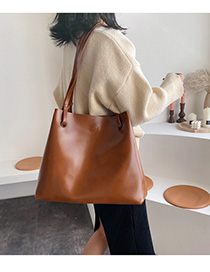 Fashion Brown Solid Color Shoulder Bag Crossbody Bag