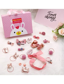 Fashion Color Bunny Gift Box Kids Hair Clip Set Of 18