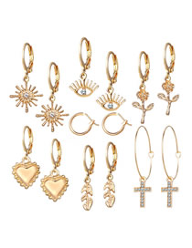 Fashion Golden Peace Heart Earring Set