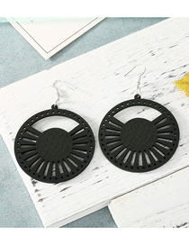 Fashion Black Large Hollow Earrings