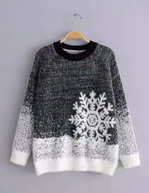 Fashion Black Contrast Snowflake Raglan Sleeve Knitted Sweater