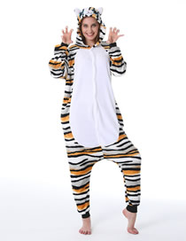 Fashion Tiger Cat Tiger Cat Flannel One-piece Pajamas