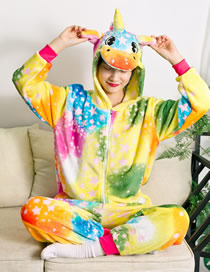 Fashion Color Star Pegasus Starry Sky Horse Hit Color Flannel One-piece Pajamas