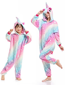 Fashion Milky Way Star Horse Color Star Pegasus Contrast Flannel One Piece Pajamas