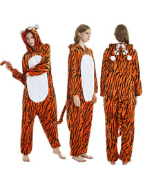 Fashion Tiger Tiger-paneled Flannel One-piece Pajamas
