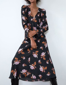 Fashion Black Flower Print Dress